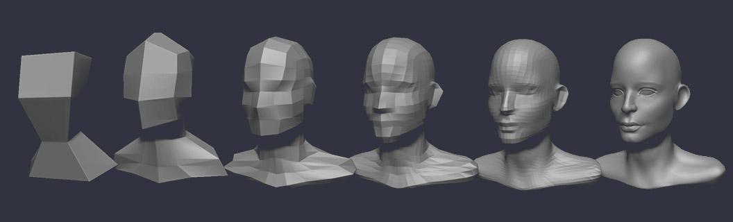 Digital Sculpting Stages Head